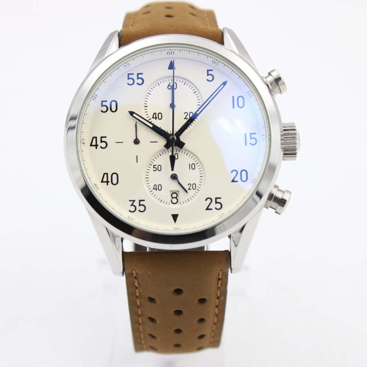 Clássico Relógios Novos Espaço Marrom Chrono Chrono Calibre Cinto Cinto Branco Gent VK Cronógrafo Couro Relógio Mens Esportes Estilo Relógios de Relógios