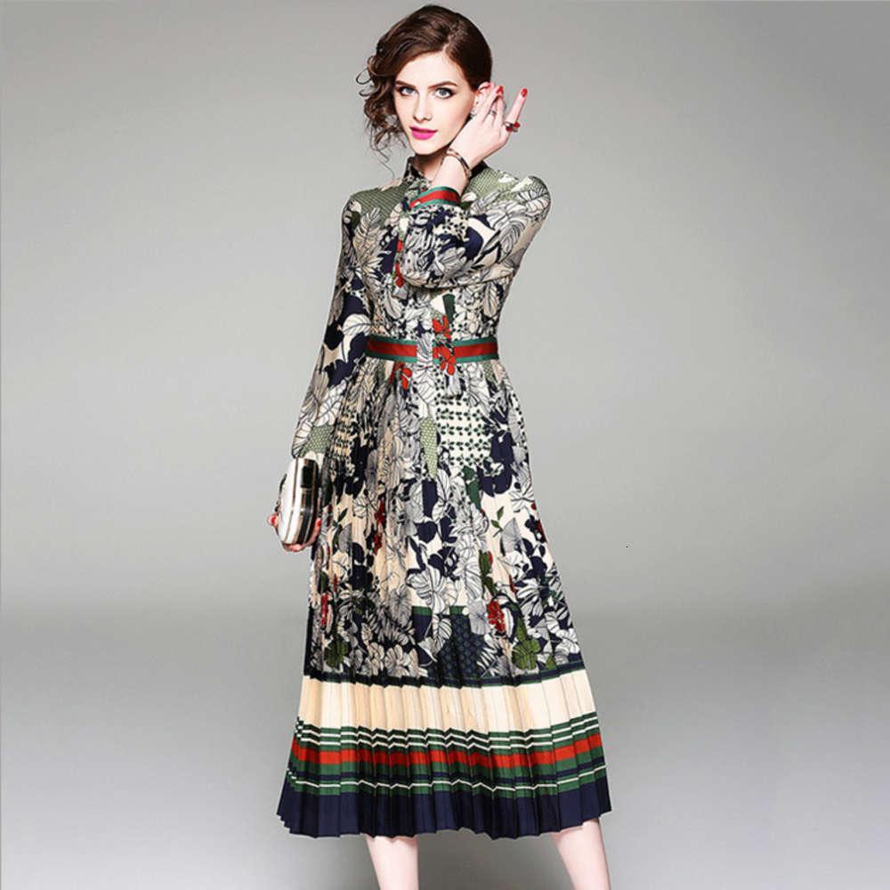 Весна Новый Высококачественный плиссированный длинный юбка с длинным рукавом на шнуровке воротник Одиночная погружная напечатанное платье
