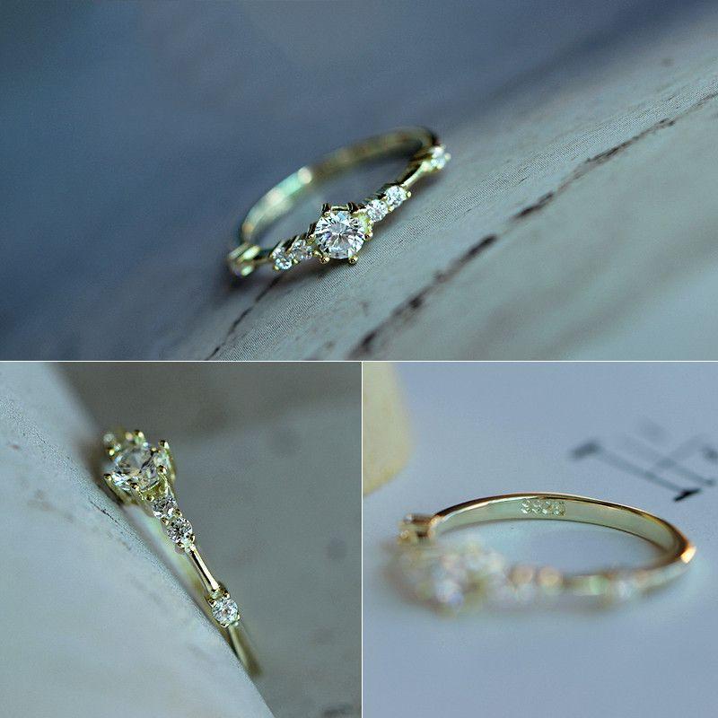 Linda hembra pequeño anillo de piedra redondo 100% Real 925 Anillos de compromiso de plata de ley 925 para mujeres Anillo de boda minimalista