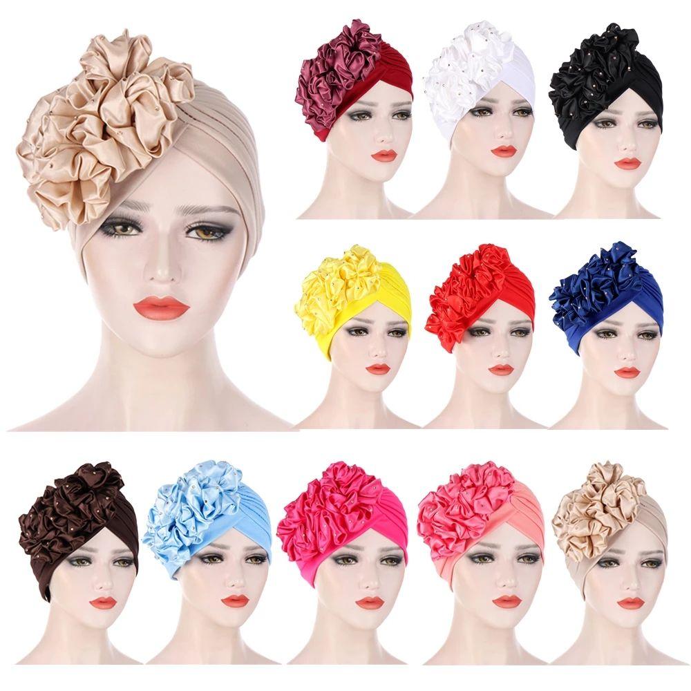 Donne musulmane hijab donne fiori ruffle turbante cappelli musulmani perle elastiche perle musulmane fodera cofano bonnet signore perdita di capelli indiano beanie wrap