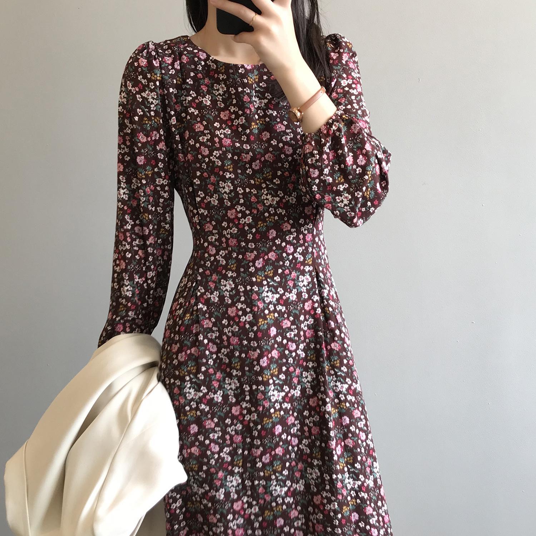2021 Moda New Spring Flower Print Maxi Slim Cintura de la cintura Mujeres elegantes florales largos Vestidos iud6