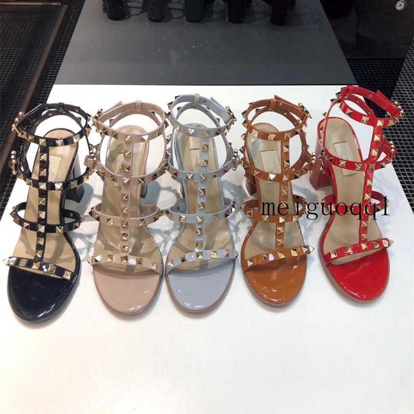 Горячая распродажа роскошный дизайнер мода заклепки сандалии кожаные каблуки высокие каблуки дамы сексуальные высокие каблуки модные заклепки обувь на высоких каблуках 6.5см 9,5