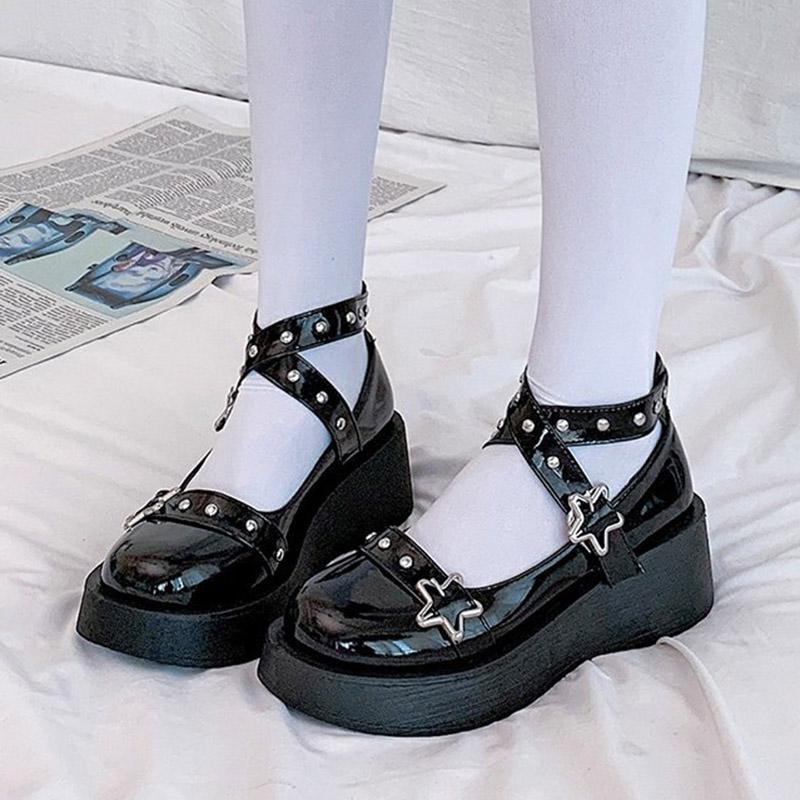 Retro Lolita Ayakkabı Yıldız Çapraz Bağlı Ayakkabı Reivets Kızlar Ayakkabı Platformu Mary Janes Ayakkabı Kadın Patent Deri Tıknaz Rahat