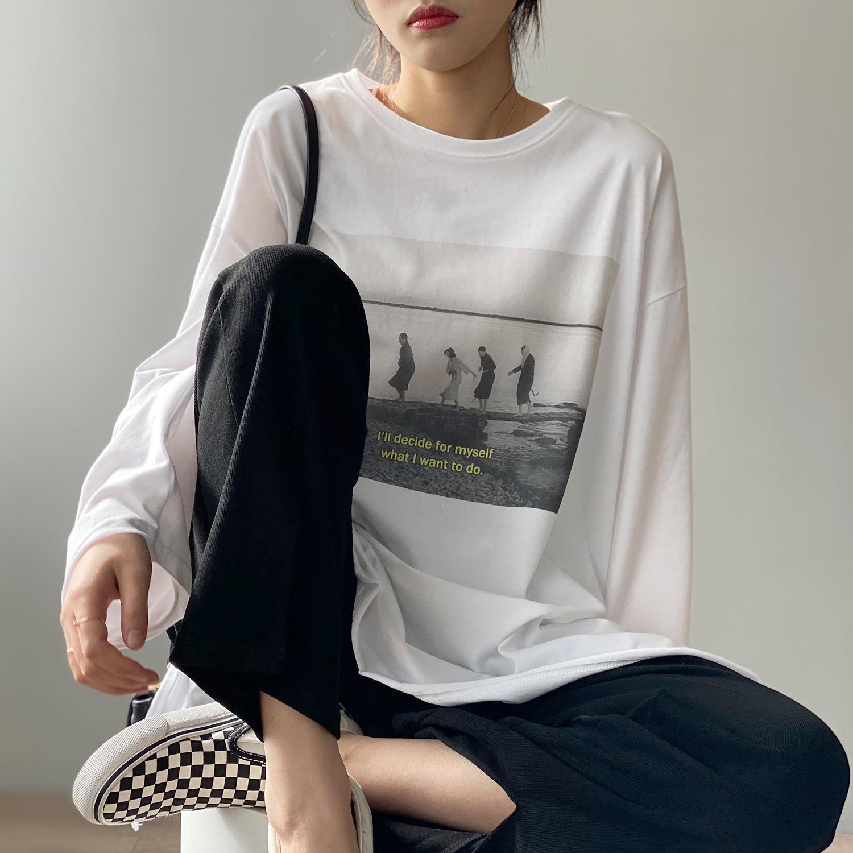 New 2021 Весна шея футболки с длинным рукавом 100% хлопок печать материал топос парень фристайл женщины белые рубашки Z6I7