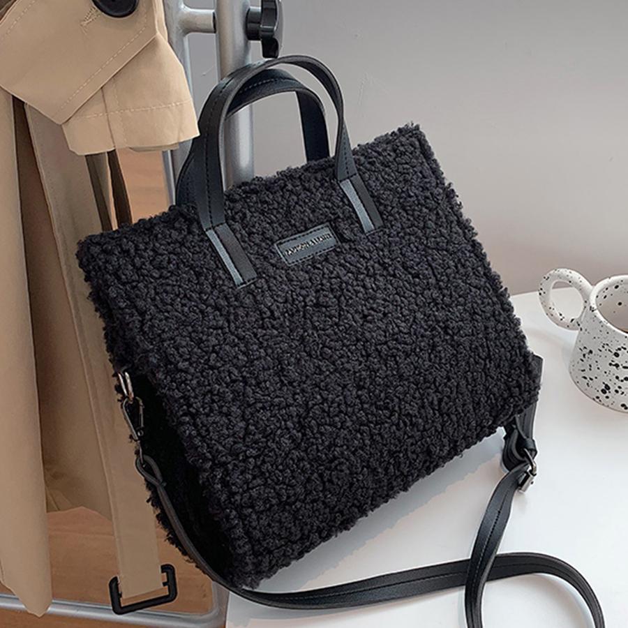 Fashion Lambswool Tote Women Handbag Casual Soft Plush Women's Shoulder Bag Designer Travel Crossbody Messenger Bag Female Purse C0308