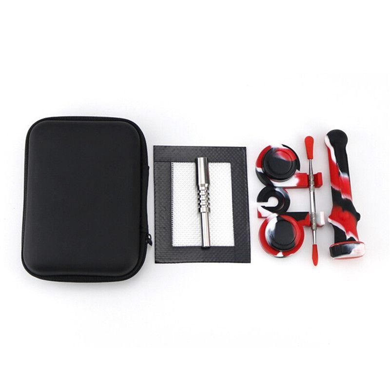 Caja del kit de colector de uñas de paja DAB con titanio de 14 mm con Dabber Sillicon Tool de contenedor con cremallera Kit de accesorios de humo DHL
