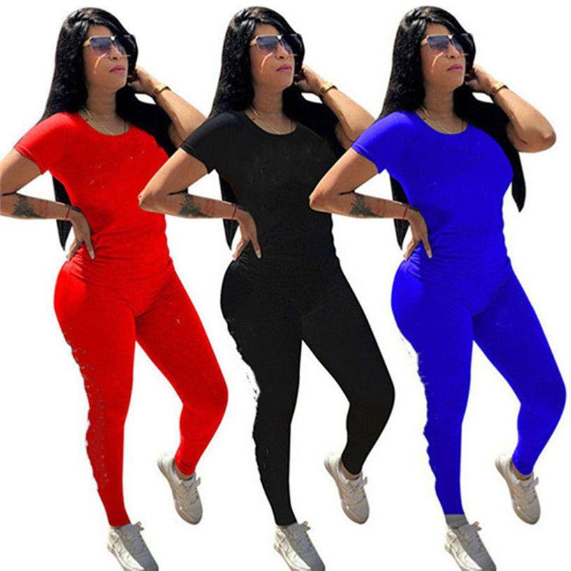 Frauen Kleidung Frühling Sommer Zweiteiler Set Kurzarm T-Shirt + Hosen Feste Farbe Sport Anzug Besatzung Ausschnitt Outfits Brief Trainingsanzug 2918