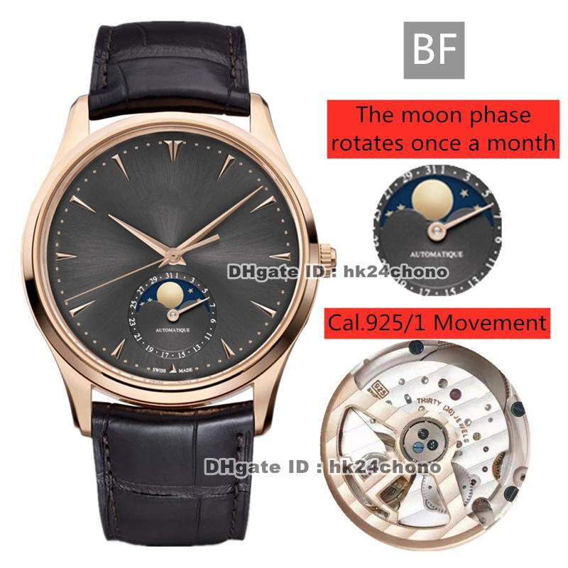 El mejor BF Master Control Master Ultra Thin Moon 39mm Rose Gold CAL.925 / 1 Reloj automático para hombre 136255J Cuero Gray Strap Strap Strap Gents Watches