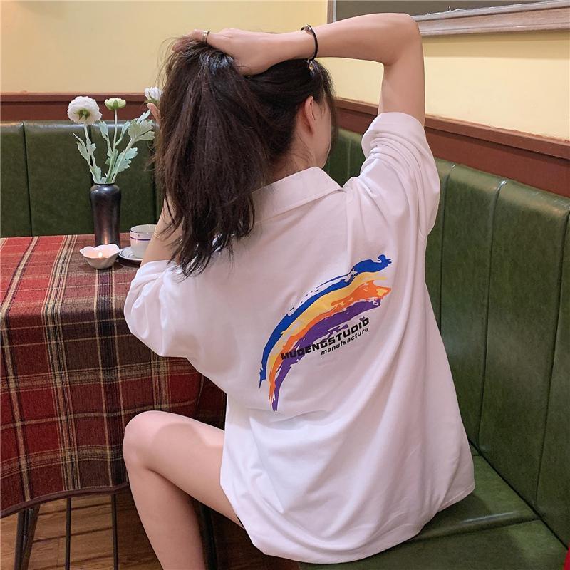 T-shirt da donna Camicia arcobaleno manica corta Femmina INS 2021 sciolto coreano chic top estate o-collo plus size ladies t-shirt