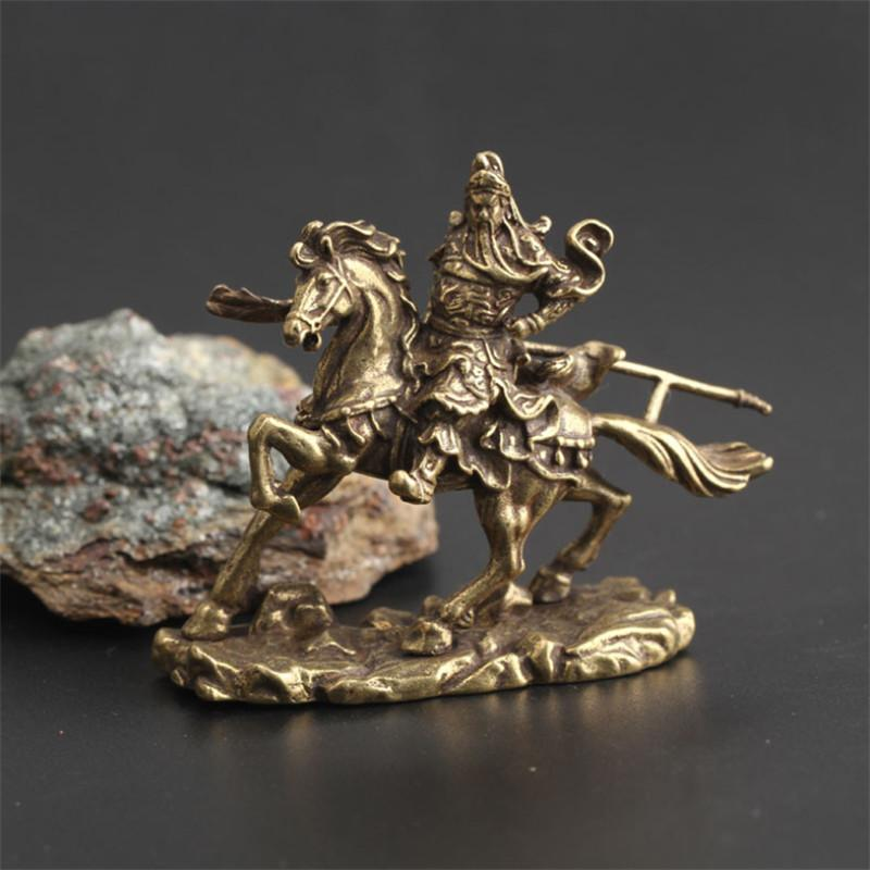 Retro Messing Chinesischer Gott des Reichtums Reiten Pferd Guan Gong Statue Handgemachte Schreibtisch Buddha Ornament Dekoration Zubehör