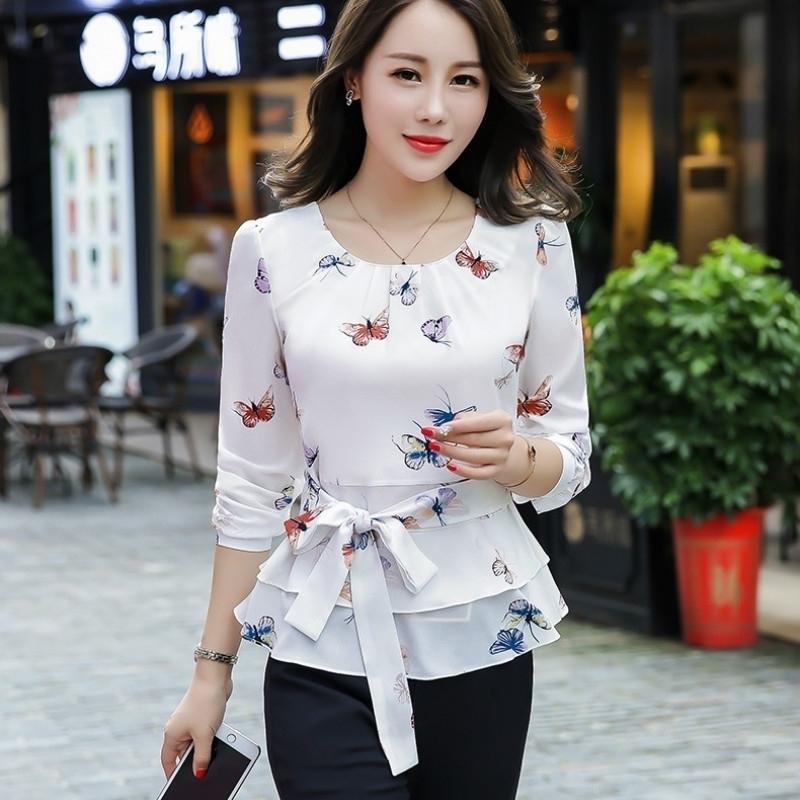 Butterfly Shirt OL Blouse Cherry White O-neck Long-sleeved Tops Spring Large Size 3XL Shirts Elegant Autumn New Feminino Camisa 210223