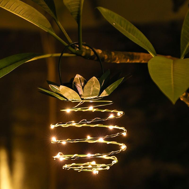 휴대용 초 롱 태양 정원 조명 단 철 파인애플 모양 매달려 가벼운 야외 방수 요정 램프 침실 침대 옆 홈 장식