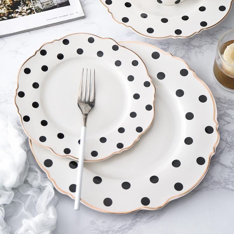 Goldene Randplatte Steak Tablett Suppe Geschirr Geschirr Set Polka Dot Dinner Platte Western Flache Blume Form Frühstück Geschirr 1 STÜCKE