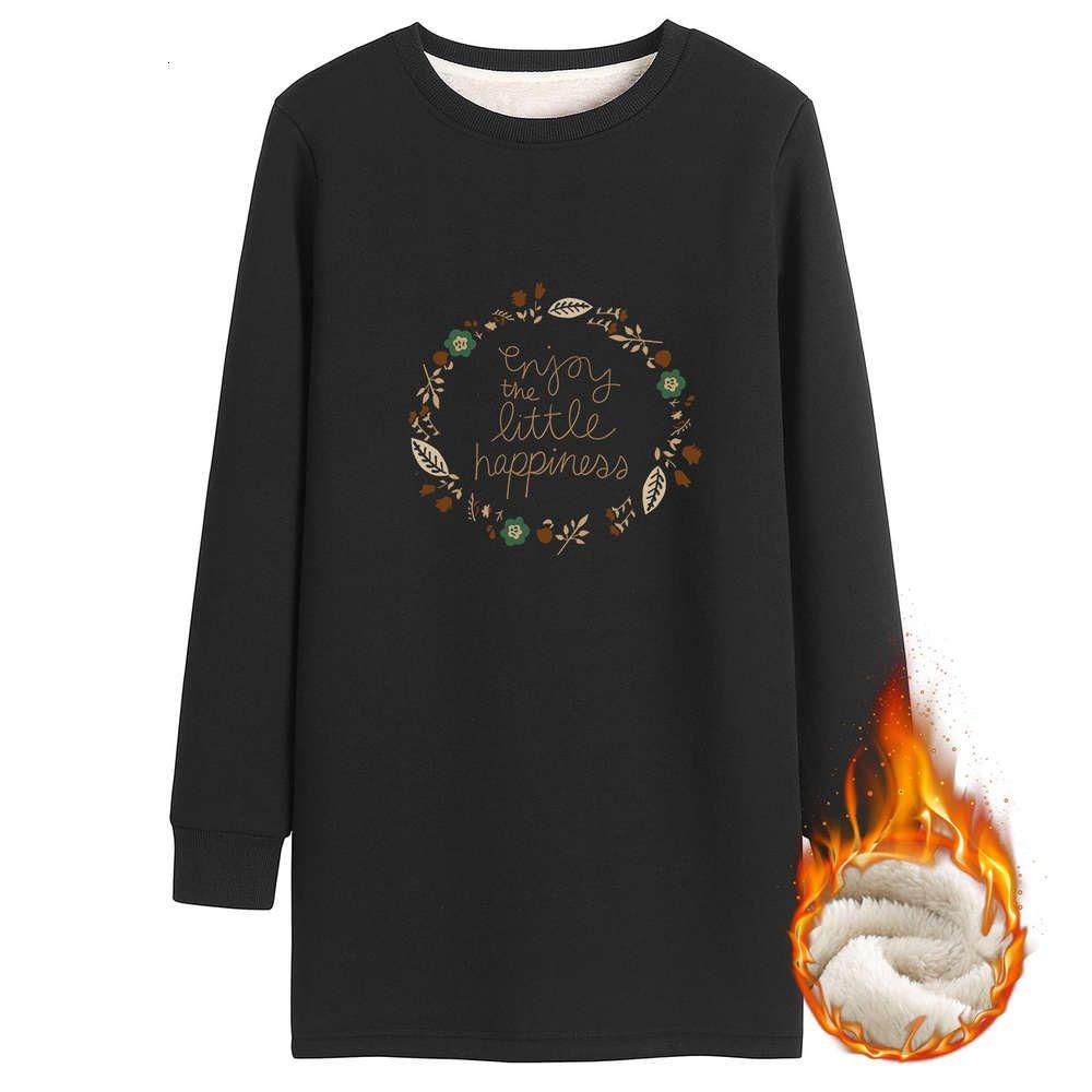 Толстовки круглые шеи свитер женская середина 2020 года новая осенью и зимняя плюшевая утолщение универсая с длинным рукавом мода корейской свободной юбки