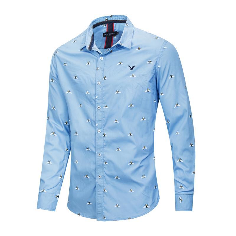 남자가 인쇄 된 버튼 아래로 셔츠 정기적 인 맞는 긴 소매 플란넬 캐주얼 남성 셔츠 자켓 코트 맨 코튼 탑스 큰 크기 FM223