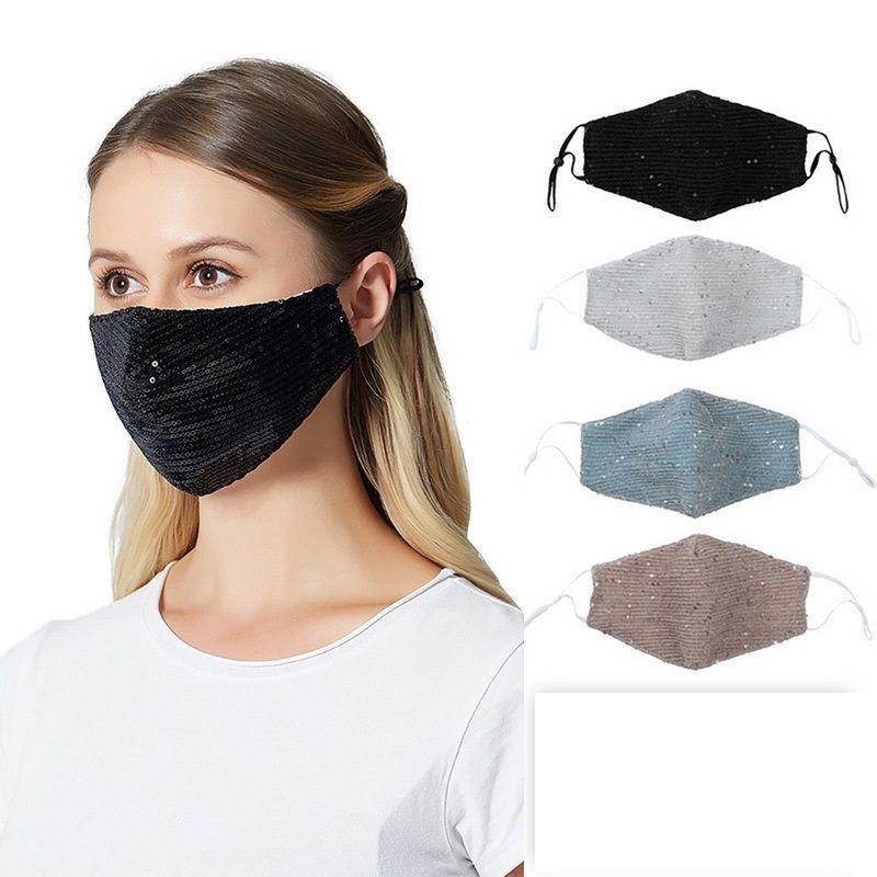 New Fashion Design Sequins Masks PM2.5 Masks Dustproof Mouth Cover Washable Reuse Face Mask Elastic Earloop Mouth Masks GWA3842