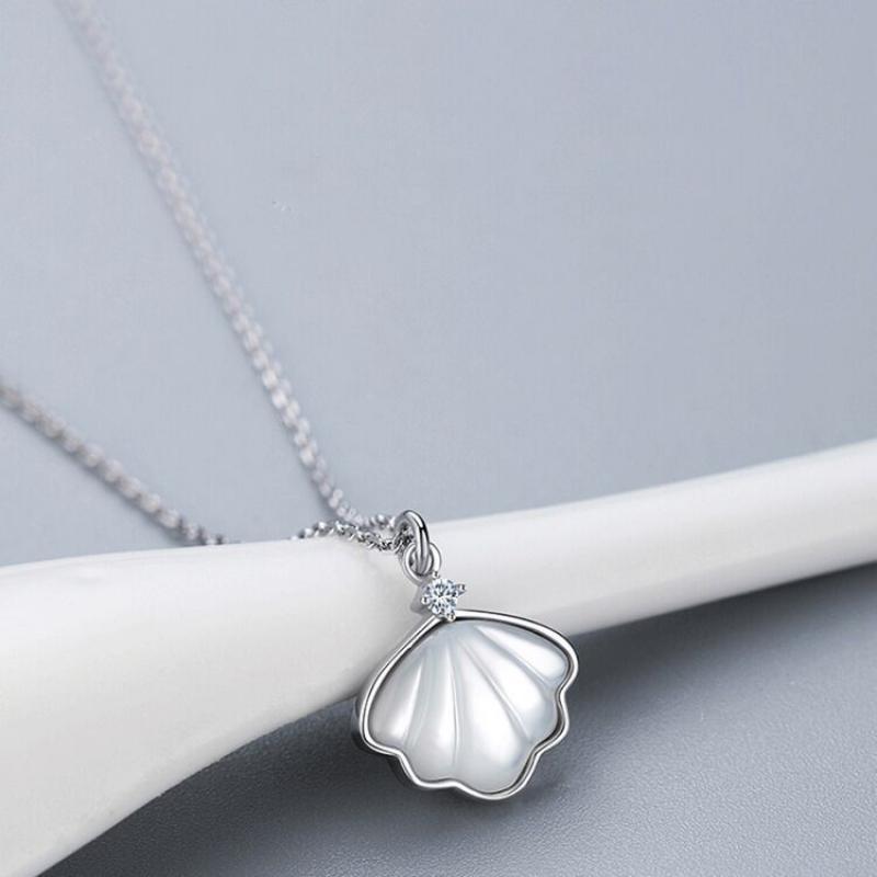 Anhänger Halsketten S925 Sterling Silber Frauen Halskette Koreanische Mode Süßwasser Perle Shell Chocker Kette Schmuck Großhandel