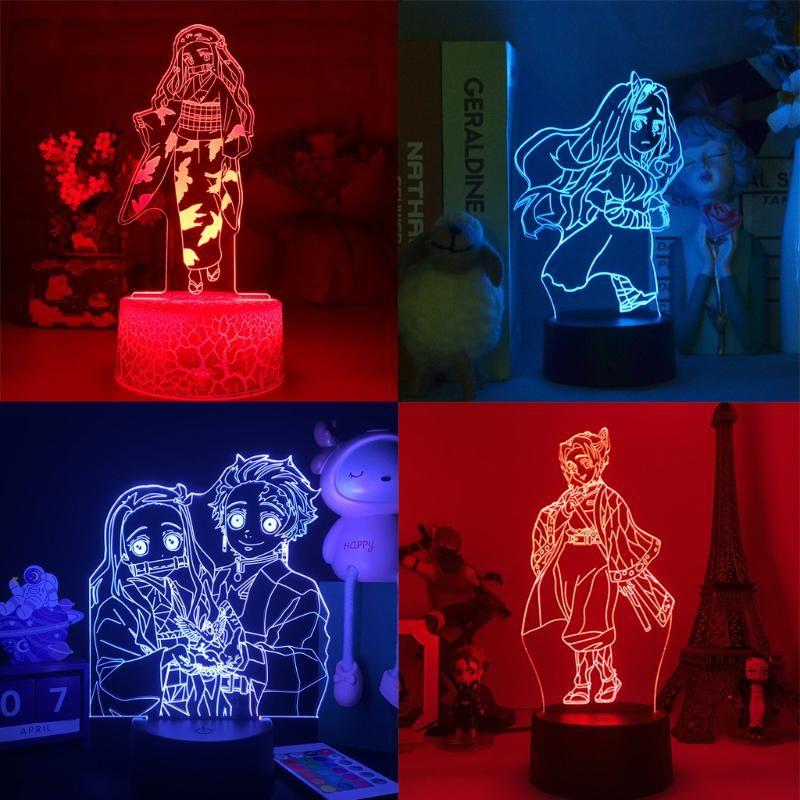 Gece Işıkları Kimetsu Hiçbir Yaiba LED Manga Lambası Anime Demon Şekil Slayer Işık Yatak Odası Dekor Için Kamado Nezuko Nightlights Indie Çocuk Hediye