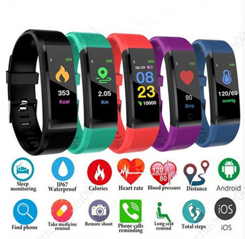 ID115 115 PLUS Pulsera inteligente para la pantalla Fitness Tracker Podómetro reloj Contador Tipo de corazón Monitor de presión arterial Monitor de pulsera inteligente Colorido