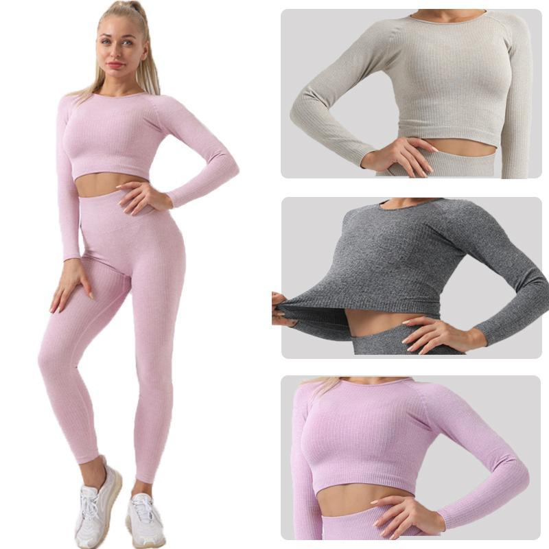 Yoga Outfits Seamless Tops Long Sleeve Fitness For Women Important Gym Crop Top Sports Shirt Active
