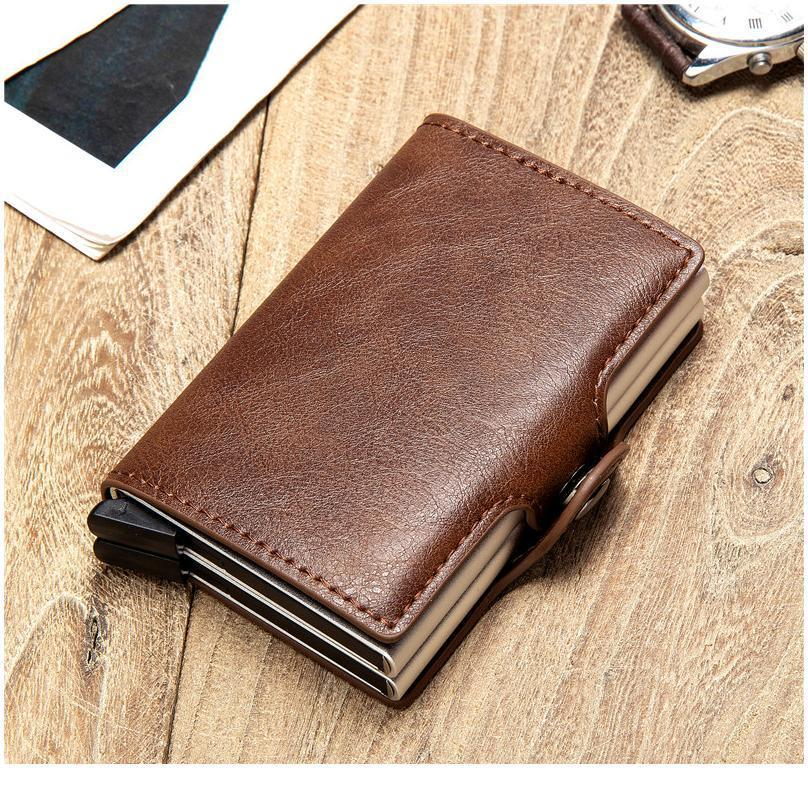 Bycobecy Anti Rfid Protection Id Credit Card Holder Men Women Double Layer Wallet Metal Leather Aluminum Business Car jllcJs