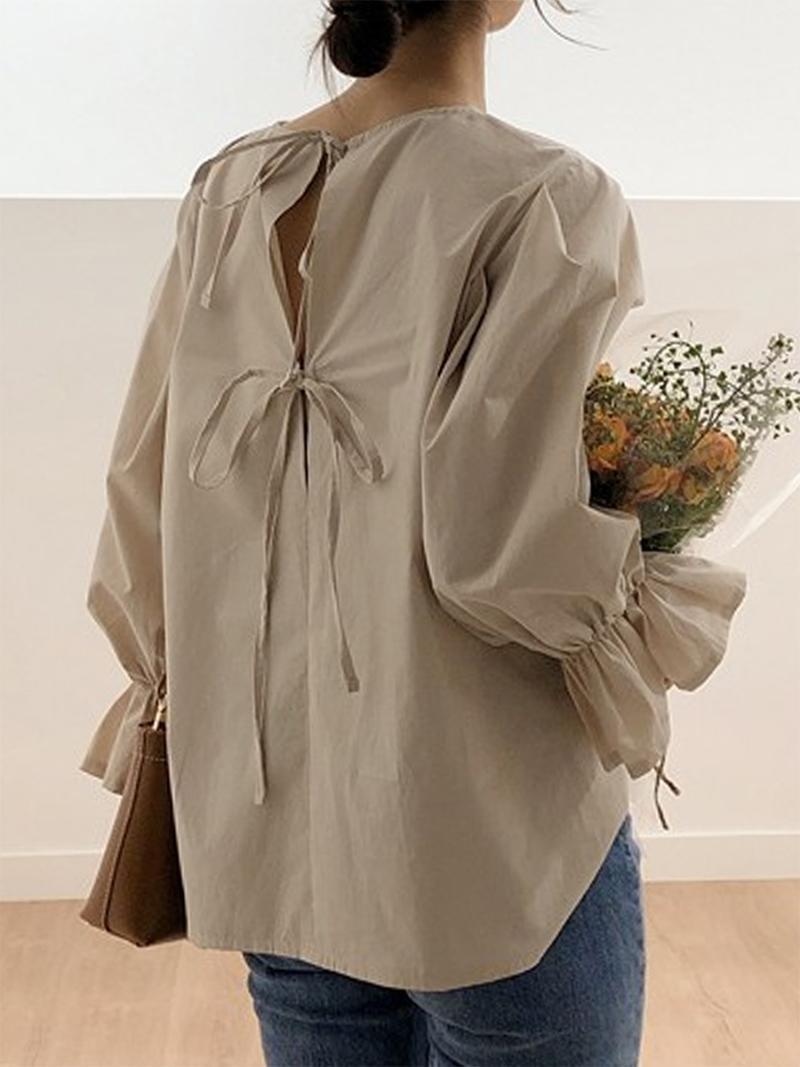 Женщины Блузки Рубашки Весна Винтаж Женщины Блузка Сплошной Флейс Рукав Шикарный Bowknot Полые Женские Топы Девушка Switt Лето Знакомства Молодые