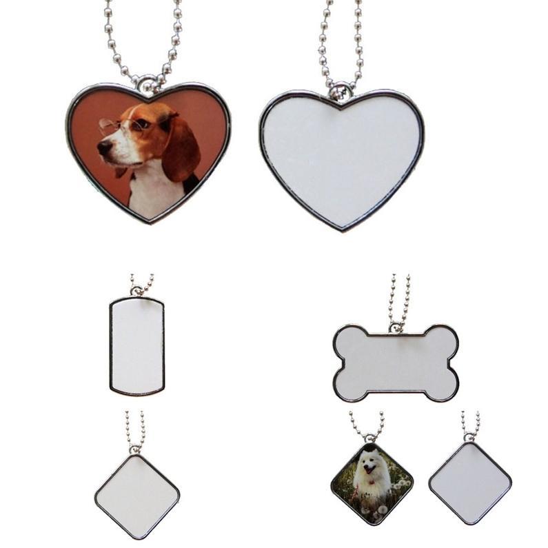 Чистая сублимация из нержавеющей стали цепь собака метка ожерелье подвесной тепловой термической передачей печати DIY Pet ID карты гладкий металлический подвески H3853F3