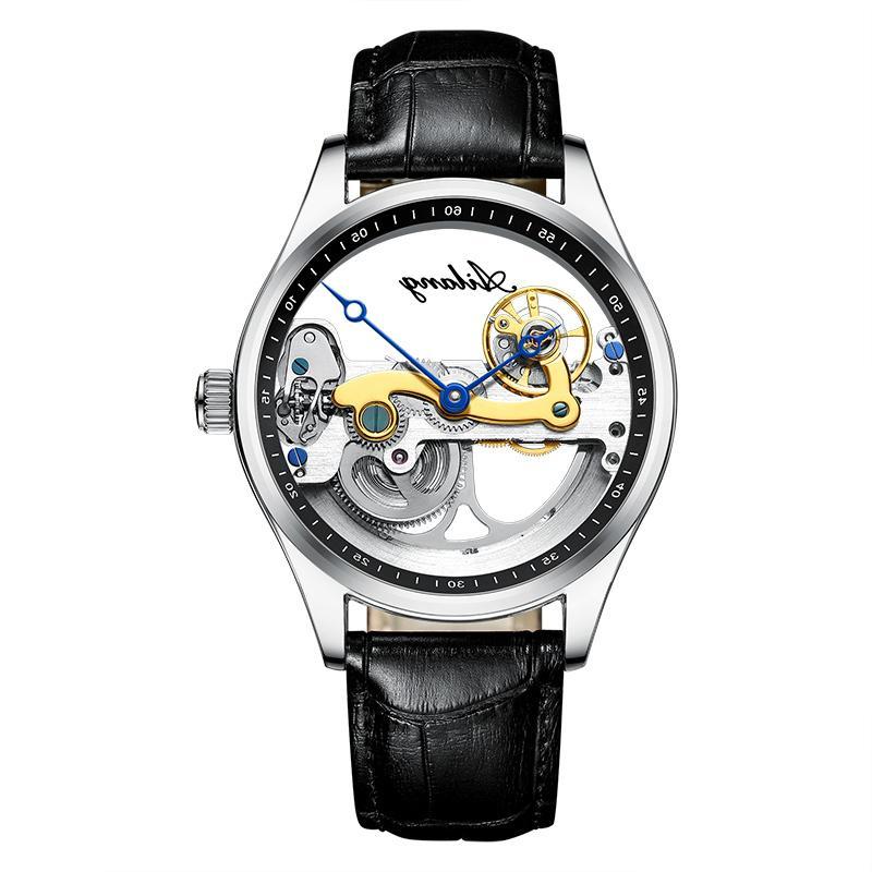 Полые автоматические механические роскошные часы наручные часы мужская черный кожаный скелет прозрачный бизнес повседневная авто ветер