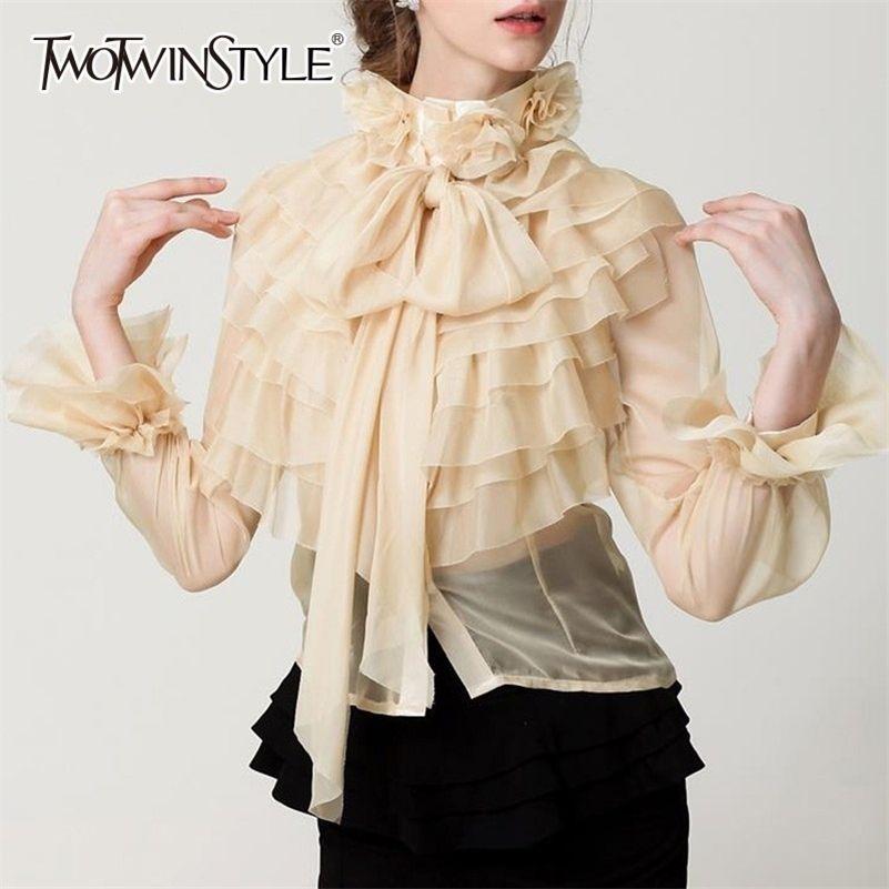 Twotwinstyle perspective tops feminino bowknot flare manga longa luta camisa blusa mulheres coreano moda roupas primavera 210225