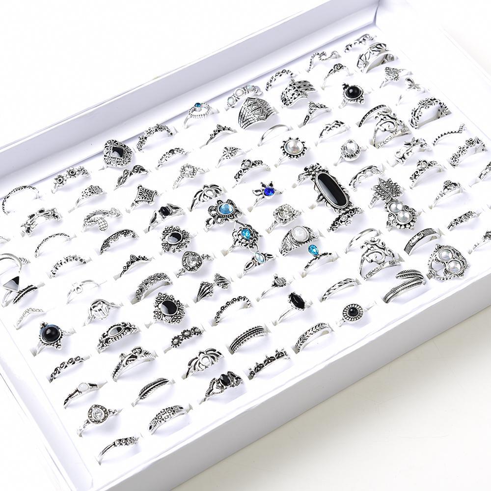 Venta al por mayor 100pcs / lot surtido bricolaje bohemia vintage plata flor de oro anillos de dedo para las mujeres anillos de joyería de regalo de fiesta