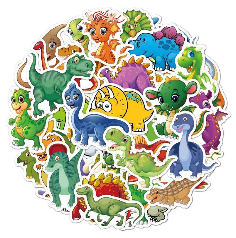 50 قطع حزمة مختلط الكرتون ملصقات tyrannosurus ديناصور 3d البرية الحيوان بارد الذئب القرش خروق الحيوانات 5 مجموعة pvc ملصق الاطفال صائق اللعب