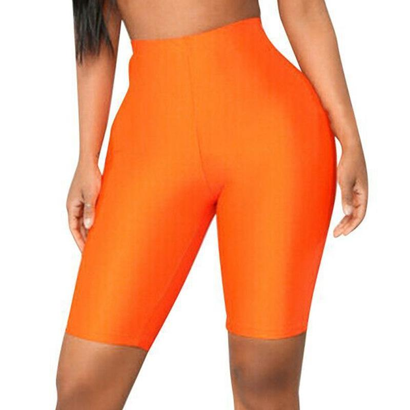 Leggings para mujer Mujeres Sexy Verano Neón Alto Cintura Jeggings Gran tamaño Plus Punto femenino Fitness Pantalones cortos delgados