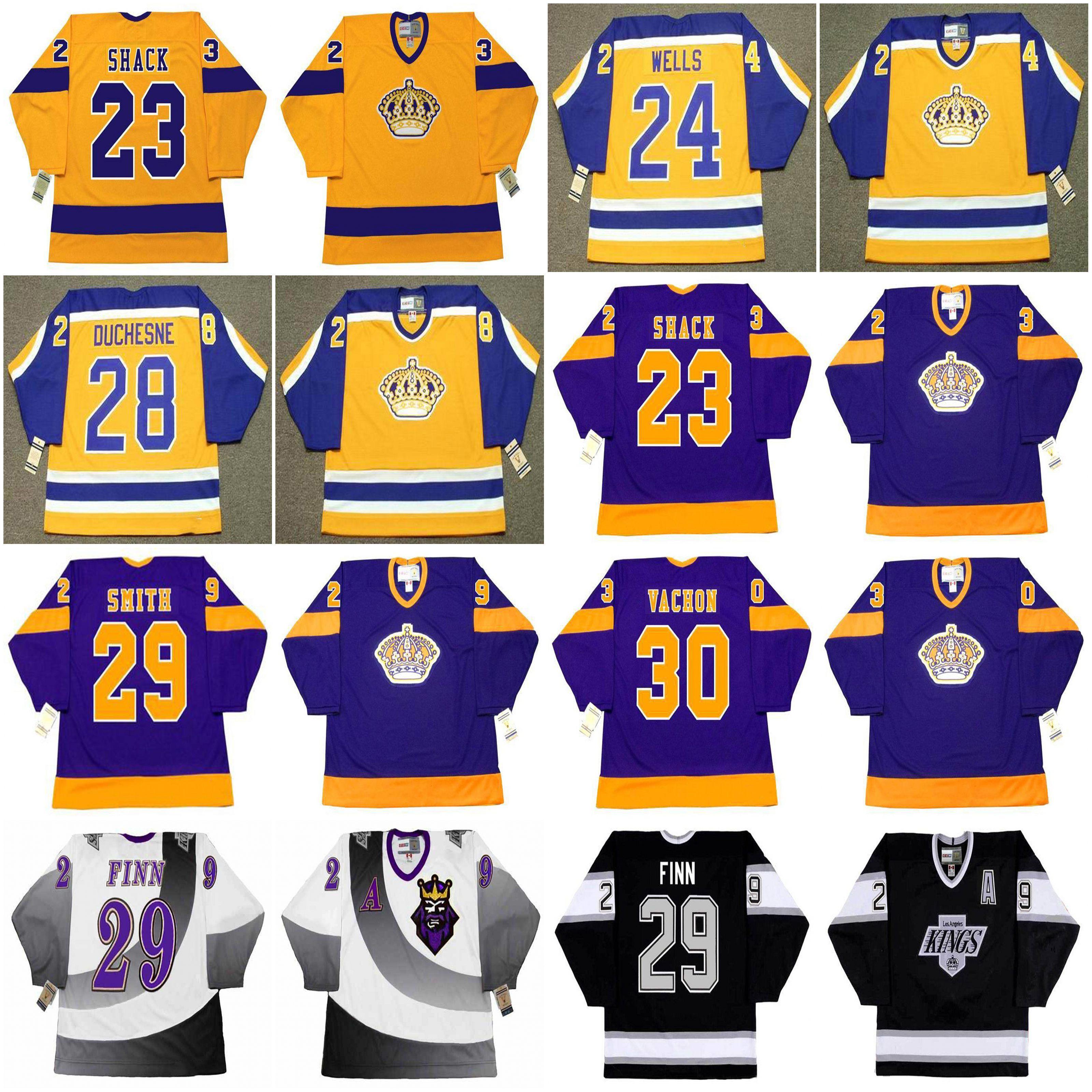 Los Angeles Kings Hockey Jersey 23 Eddie Shack 1970 24 Jay Wells 1985 Duchewne 1987 Smith Finn Dejordy Vachon Sawchuk Baron 1983 HRUDEY 1993 33 Marty Mccorley