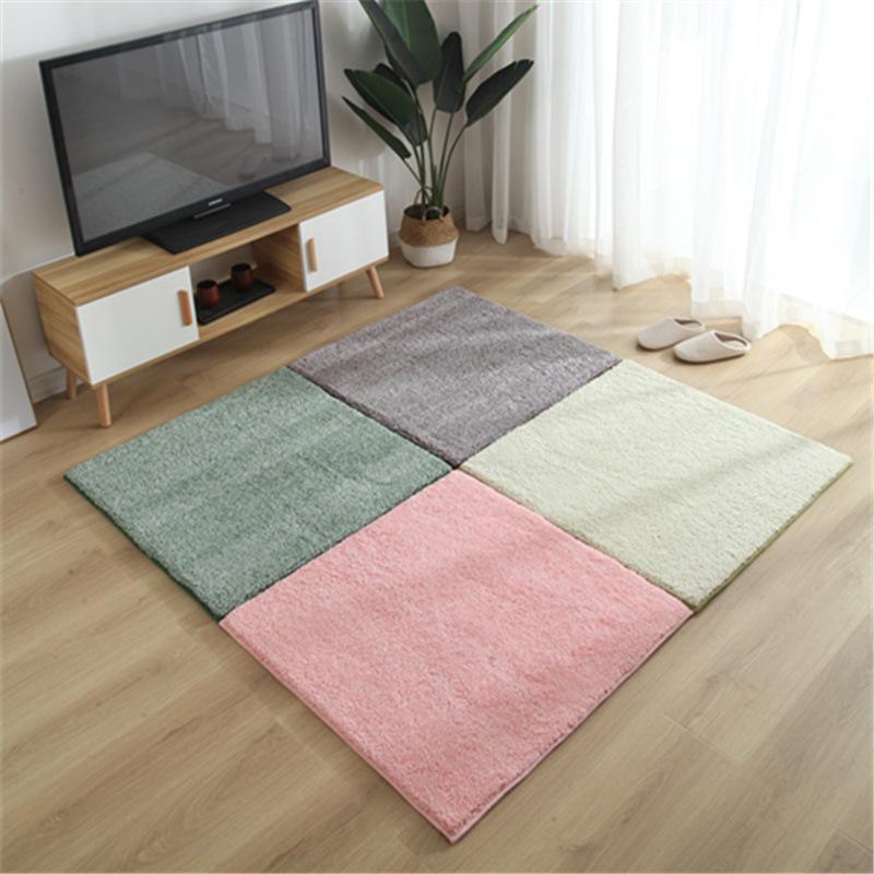 Carpets Foldable Super Soft Solid Color For Living Room Children's Tatami Bedroom Rug Bedside Home Decor Stitching Floor Mat