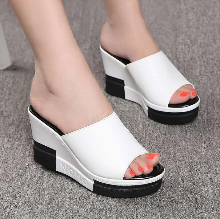 2021 Mode Flip Flops Frauen Schuhe Hausschuhe Plattform Sommerschuhe Offene TOE Keile Sandalen Damen Frauen Plus Größe 35-40