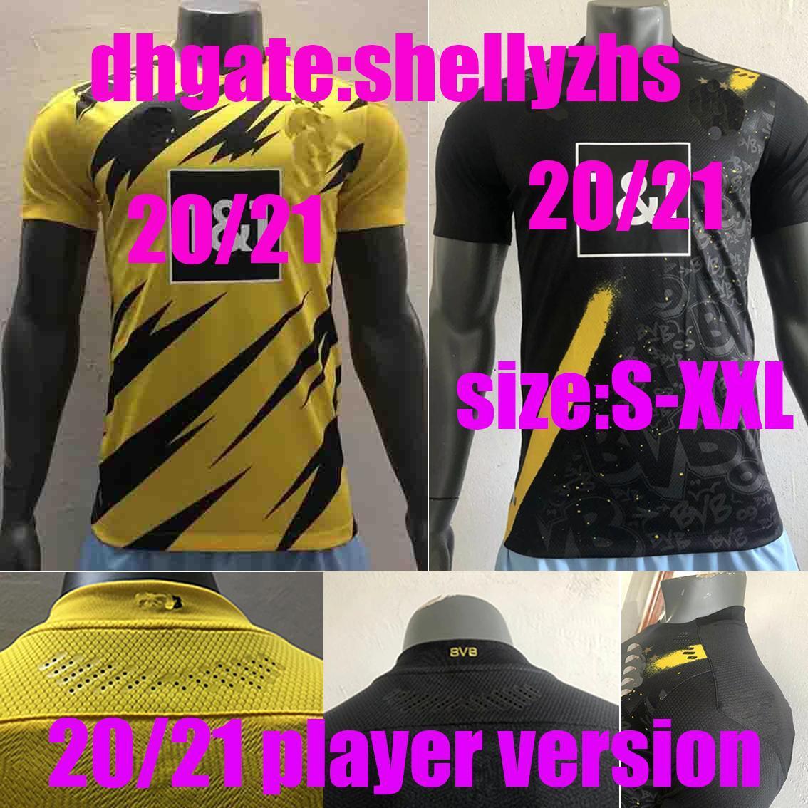 Игрок версии 2020 2021 Джерси Джерси Дордина # 9 Haaland Home Yellow Away Black Men Brandhts # 7 Sancho # 11 Reus желтая футбольная форма