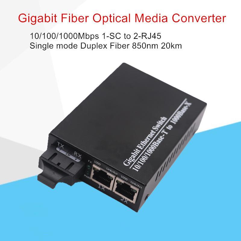 Convertisseur de média optique de fibre optique Gigabit 10/100/1000 Mbps en mode mono-Mode de la duplex de la longueur d'onde d'onde 1310nm 20km 1-SC au connecteur 2-RJ45