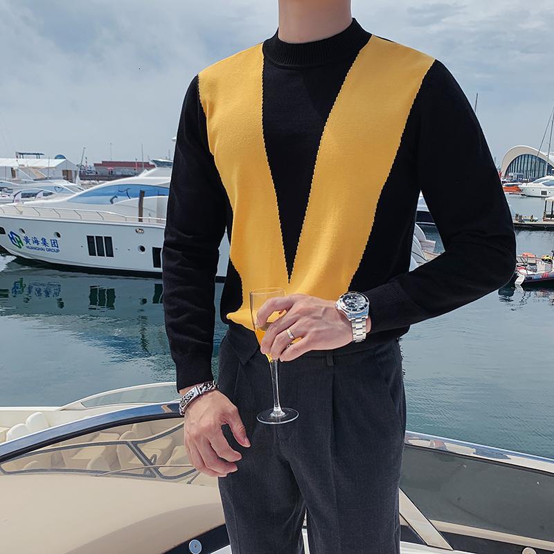 Kış İngiliz Tarzı Kazak Erkekler Moda 2021 Uzun Kollu Erkek Casual Kazak O-Boyun Patchwork Renk Slim Fit Çekin Homme VBSX