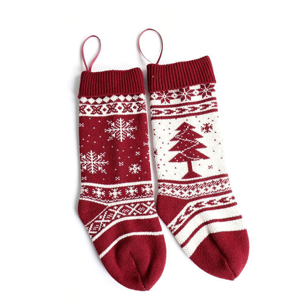눈송이 뜨개질 크리스마스 스타킹 46cm 선물 스타킹 크리스마스 트리 휴일 주식 실내 장식 OWB7454