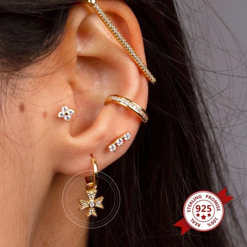 Hoop Huggie 925 Серьги стерлингового серебра для женщин Маленькая девочка ушная кость пирсинг ретро нежного цветочного подвеска