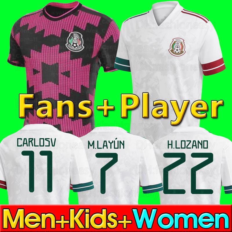 2020 2021 멕시코 축구 유니폼 화이트 전국 19 20 21 블랙 chicharito lozano 가디더 Carlos Vela Raul 축구 셔츠 키즈 팬 + 플레이어 버전