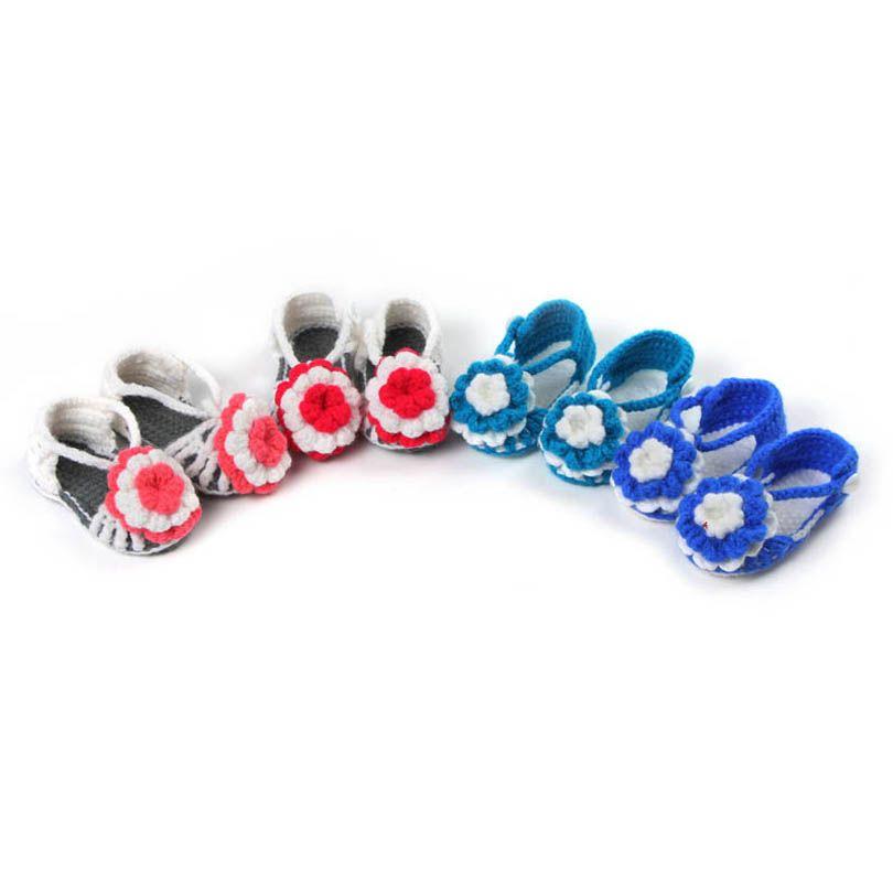 طفل أول مشوا أحذية الوليد طفل الرضع الأحذية الكروشيه محبوك لينة وحيد زهرة الفتيات الجوارب B6713