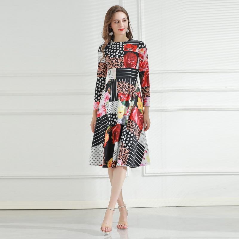 2021 manga larga O cuello de impresión de moda Milan Runway Dress Designer vestido Marca Mismo estilo vestido 0301-10