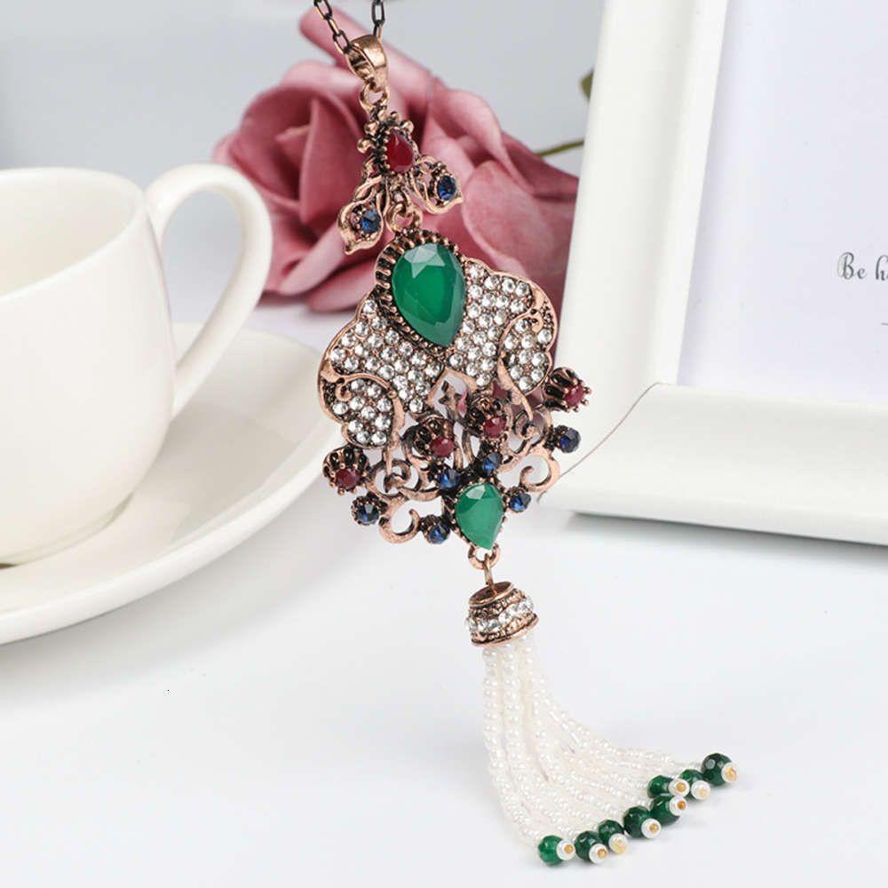 Популярные модные богемные стеклянные подвески, инкрустированные с кристальным ожерельем в национальном стиле