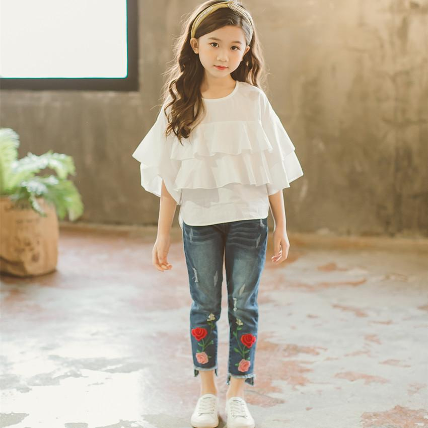 2020 New Baby Shirt Kids Ruffles Sleeve T-shirt Brand Girls T-shirt Children White Tee Tops Matched Girls' Jean Pants,#2852 Q0202