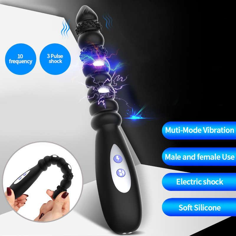 Новые пульсные шокирующие бусины Простата Массажер Plock Plug Anal Vibrator Секс-игрушки для мужчин Мастурбатор Вибро Clit Stimalator