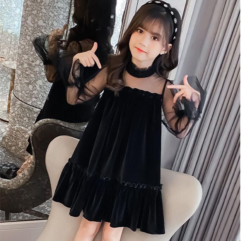 Kızın Elbiseleri 2021 Kız Elbise Uzun Kollu Bahar Genç Çocuklar Kızlar Için Siyah Akşam Parti Sonbahar Çocuk Giyim 3-12Y