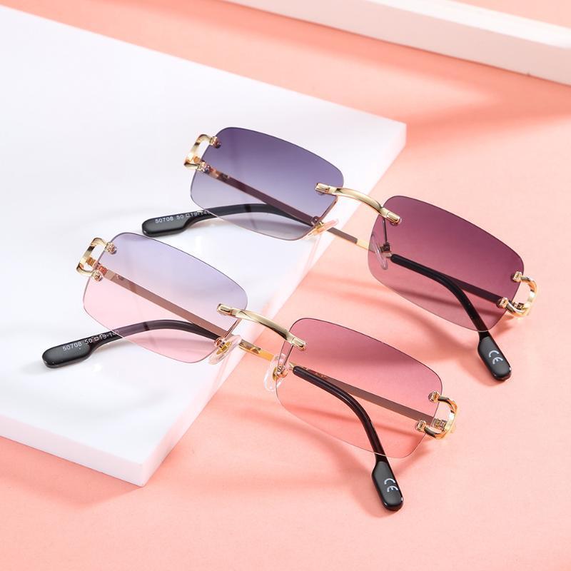 패션 빈티지 사각형 무선 선글라스 여성 디자이너 여행 작은 직사각형 그라디언트 태양 안경 여성 음영