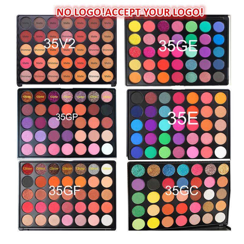 YOK LOGO! Yüksek Kalite 35 Renkler Glitter Göz Farı Paleti Su Geçirmez Mat Göz Farı Krem Özelleştirilmiş LOGO!