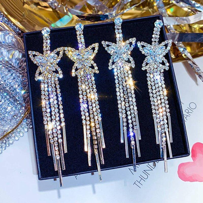 Boucles d'oreilles en cristal de papillon brillant Boucles d'oreilles longs glands de boucles d'oreilles pour femmes Déclaration Boucles d'oreilles Bijoux Cadeaux